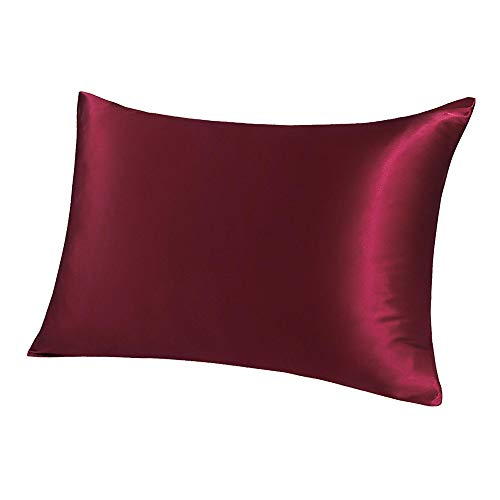 PiccoCasa 19mm Burgundy Silk Pillowcase for Hair Skin King/20x36in Pillow Case with Zip