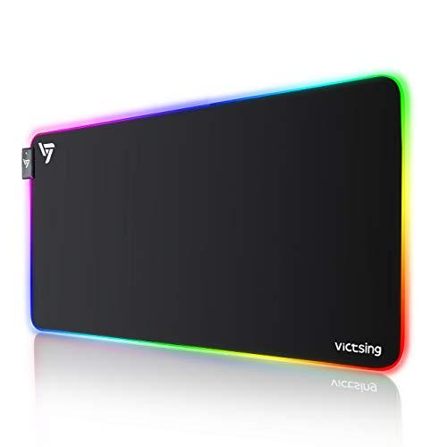 VicTsing Alfombrilla Gaming, 800 x 400 x4.0 mm Extra Grande Alfombrilla Raton RGB para Juego, Base de Goma Antideslizante y Superficie Suave Resistente al Agua para Gamers, PC y Portátil