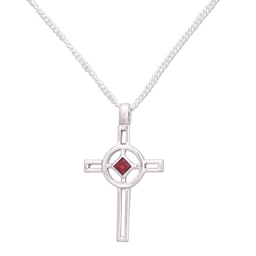 NOVICA .925 Sterling Silver and Garnet Cross Pendant Necklace, 16.25', Celtic Cross'