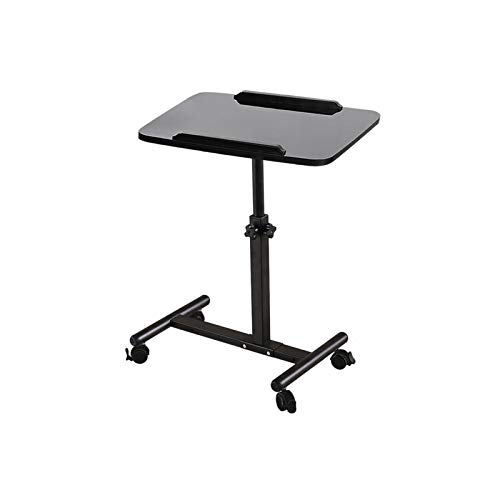 NOVII Mobile Laptop Computer Desk Cart, Angle & Height Adjustable Cost-Effective Rolling Workstation, Sofa/Bed Side Table Hospital Table Stand, That Also Works Great as a Lectern/Podium (Black)