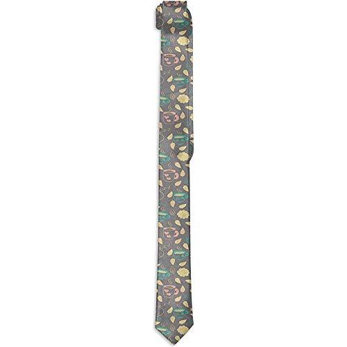 WILHJGH Bedruckte Herren-Krawatte mit Blumenmuster, Herbstmotive mit heißer Kakao-Kaffeetasse und niedlichen schlafenden Katzen, Krawatten für Herren