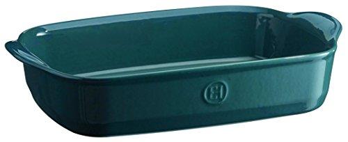 Emile Henry EH979652 Plat à Four Moyen Rectangulaire Céramique Bleu Feu Doux 36 X 23 X 7 cm