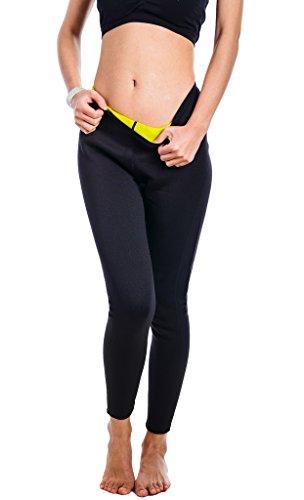 Bakerdani Womens Hot Sweat Thermo Long Pants Body Shaper Neoprene Shapewear Comfortable Gym Sauna Pant Black