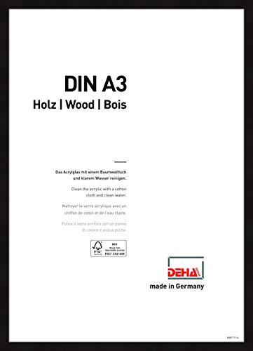 DEHA Holz Bilderrahmen Fontana, 29,7x42 cm (A3), Schwarz