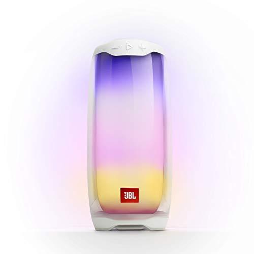JBL Pulse 4 in Weiß – Wasserdichter Bluetooth-Lautsprecher mit 360-Grad-Beleuchtung – Bis zu 12 Stunden Akkulaufzeit mit einer Ladung – Kabelloses Musikstreaming