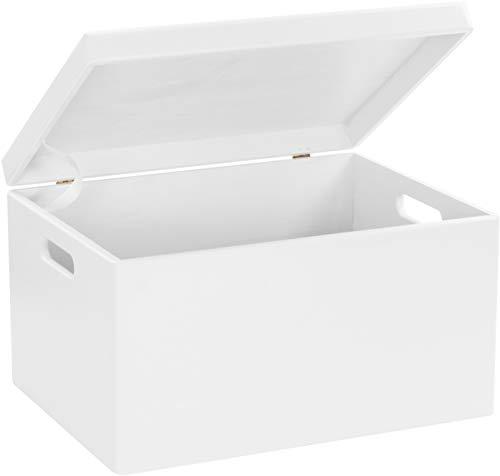 LAUBLUST Große Holzkiste Deckel und Griffe - 40x30x24cm, Weiß, FSC® | Allzweck-Kiste aus Holz - Aufbewahrungskiste | Geschenk-Verpackung | Deko-Kasten zum Basteln | Spielzeug-Truhe | Erinnerungsbox