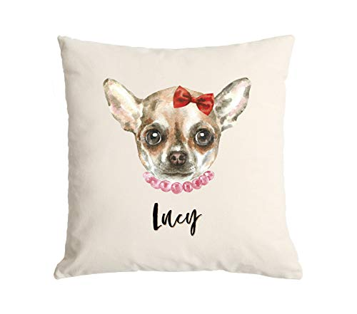 Qualtry Personalized Watercolor Dog Throw Pillow Cover (Lucy Design) 18 x 18- Decorative Pillow Case, Unique Gift for Dog Lovers for Dad, Grandpa, Husband, Boyfriend, Stepdad, Brother