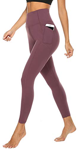 JOYSPELS Sporthose Damen Leggings Sportleggins Lang Trainingshose Laufhose, Weintraube, M