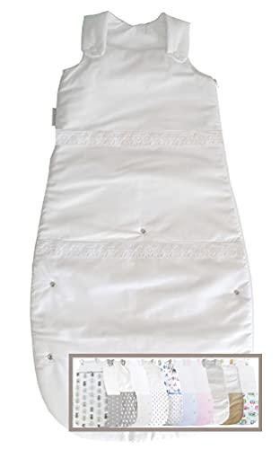 Vizaro - Saco de Dormir Evolutivo Bebé (4-36 meses) 100g - 2,5Tog - INVIERNO, ENTRETIEMPO - 100% Algodón - Hecho UE, OekoTex - Bordado Blanco