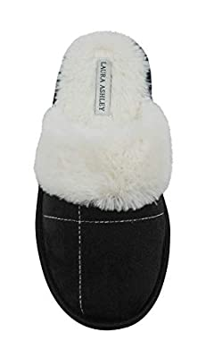 Laura Ashley Ladies Micro Suede Scuff Slipper with Plush Collar (See More Colors & Sizes)