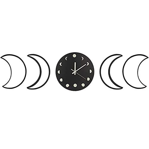 hufeng Reloj de Pared Luminoso Reloj de Pared con Fase Lunar Juego de Espejos creativos con Fase Lunar Juego de Espejos acrílicos Reloj para Oficina en casa