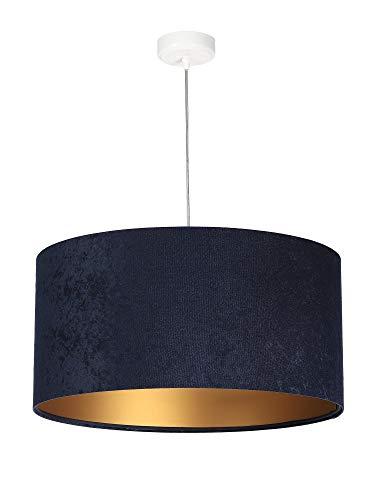 Runde Pendelleuchte Blau Gold Stoff Velours Optik Ø50cm SELENA Esszimmer Lampe Wohnzimmerlampe