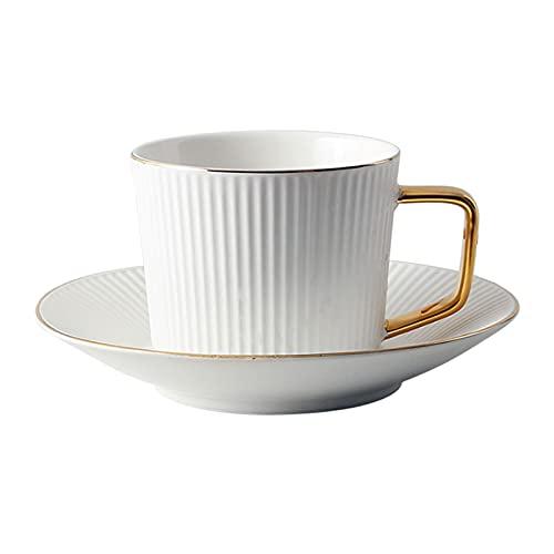 Tazas Taza de café Tazas de café y platillo 5.7oz Moda de cerámica Rayas Verticales Senses Platos de Taza de té para café, té, Cacao Tazas de café (Color : White)