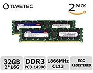 Timetec SUPERMICRO 32GB Kit (2x16GB) DDR3 1866MHz PC3-14900 Registered ECC 1.5V CL13 2Rx4 Dual Rank 240 Pin RDIMM Server Memory RAM Module Upgrade (32GB Kit (2x16GB))