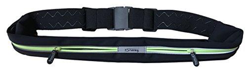 It's Running Double Smart Belt Laufgürtel Hüfttasche, Black/Yellow, One Size