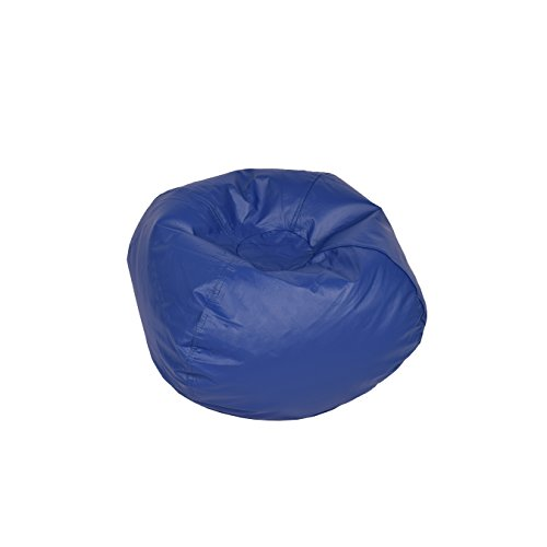"ACEssentials Medium Vinyl Bean Bag Chair, 26"" x 26"" x 16"", Blue"