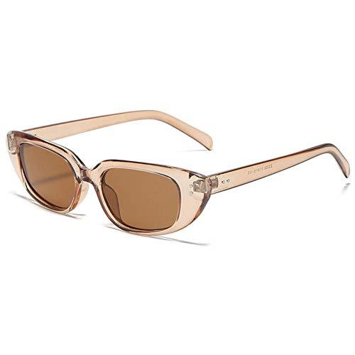 ZZOW Gafas De Sol Vintage con Forma De Ojo De Gato para Mujer, Diseño De Marca, Decoración De Uñas para Hombre, Gafas De Té Gris, Gafas De Sol para Mujer, Sombras Uv400