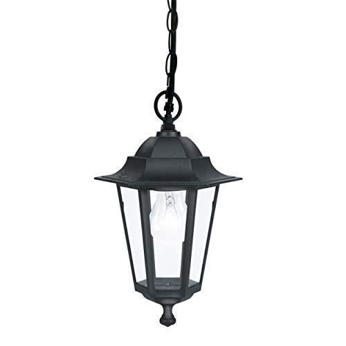 EGLO Außen-Hängelampe Laterna 4, 1 flammige Außenleuchte, Hängeleuchte aus Aluguss und Glas, Farbe: Schwarz, Fassung: E27, IP44