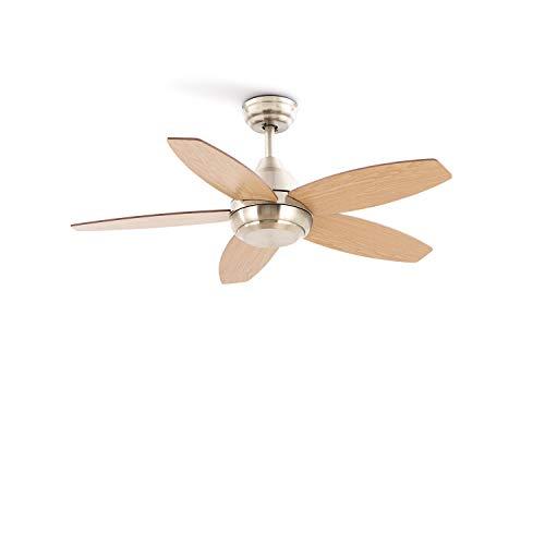IKOHS FLOWOOD - Ventilatore da soffitto, silenzioso, potente, 5 pale, telecomando, diametro 107 cm, 3 velocità, timer, pale di legno, motore AC, 60 W (senza luce)