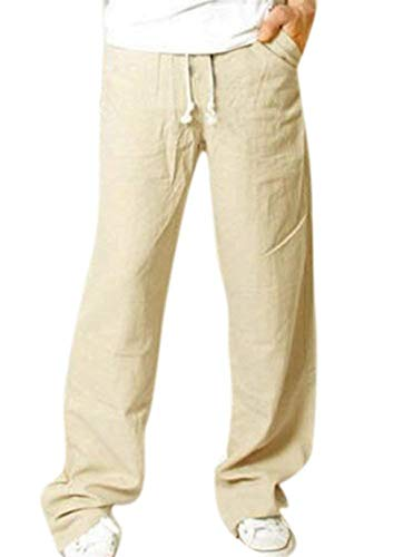 Mens Loose Pants Beach ademende lichte lange trekkoord broek modern casual vintage casual locker linnen broek vrijetijdsbroek zomerbroek