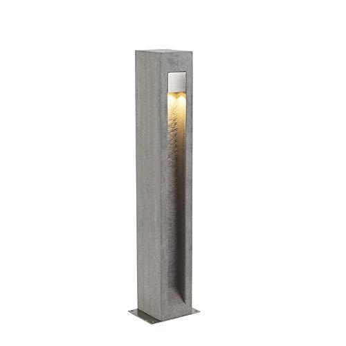 QAZQA Moderne staande buitenlamp bazalt 70 cm - Sneezy Steen/Beton/Roestvrij staal (RVS) Rechthoekig LED inbegrepen Max. 1 x 7 Watt