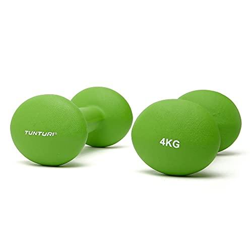 Tunturi 14TUSCL378 Mancuernas, Unisex Adulto, Verde, 4 kg