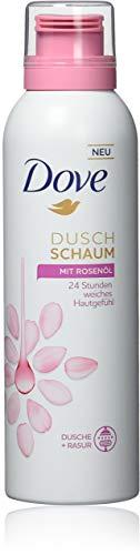Dove Duschschaum Rasierschaum Damen 6er Pack Rosenöl 24h weiches Hautgefühl (6 x 200 ml)
