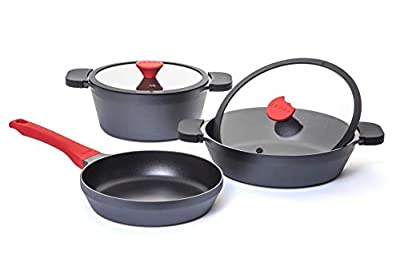 FOODY 5 piece Non-Stick GREBLON C3 + Kitchen Cookware Set pot for all types of cookers FO515
