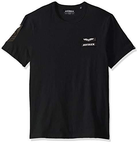 Avirex Men's Patched Crew Neck T-Shirt, Jet Black, S