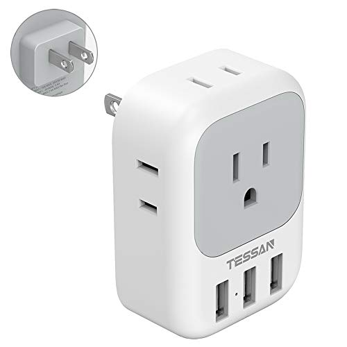 3 Prong to 2 Prong Adapter,TESSAN Electrical 4 Outlet Expander with 3 USB Wall Charger, Multi Plug Extender Splitter, Travel Multiple Power Adaptor for US to Japan-Type A