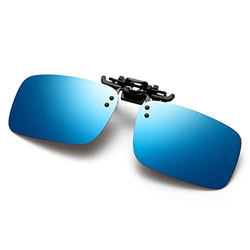 Polarized Clip on Sunglasses Fit Over Prescription Glasses for Men Women Fishing Driving (Blue)