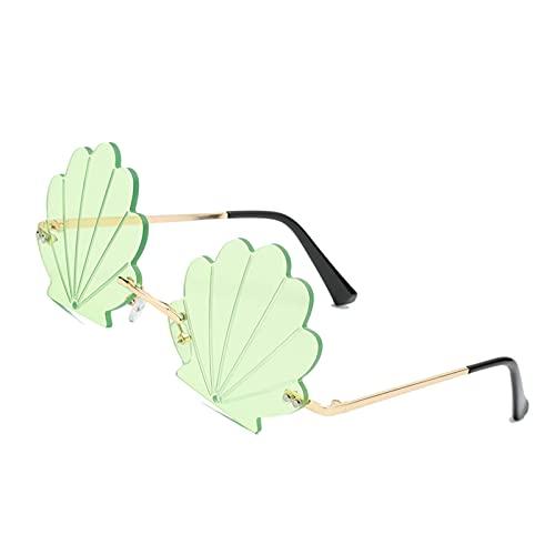 harayaa Bonitas Gafas de Sol de Concha Vintage sin Montura Gafas Retro de Ojo de Gato para Mujeres Gafas de Regalo de Viaje al Aire Libre UV400 - Verde