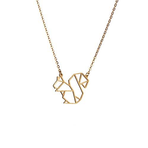 La Menagerie Ardilla de oro, collar de origami y joya geométrica en oro - Collar chapado en oro de 18k y collares de ardilla para mujer - Collar con ardilla para niñas