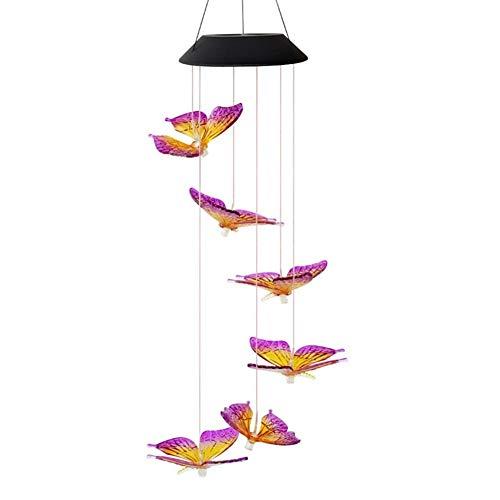GZSC LED Solar Wind Chime Licht Vlinderstijl Waterdichte Outdoor Garden slinger Hangende lichten Kerstmis Solar Decor Lamp