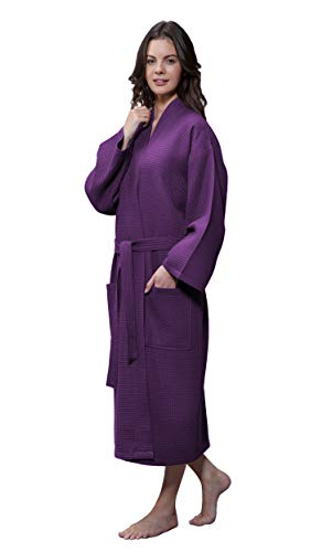 Lightweight Long Waffle Kimono Unisex Spa Robe (Small/Medium, Purple)