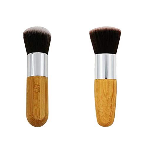 Lurrose 2pcs Foundation Pinceaux Ensemble de Pinceaux de Maquillage en Bambou pour Mélanger de la Poudre de Crème (tête plate et tête ronde)