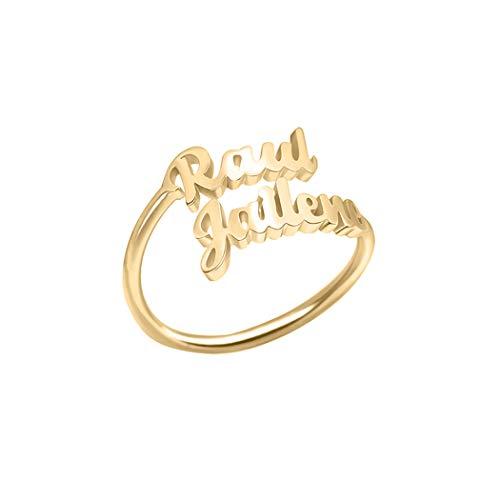 Anillo de plata de ley con nombre doble, anillo de nombre personalizado, con cualquier nombre, madre e hija