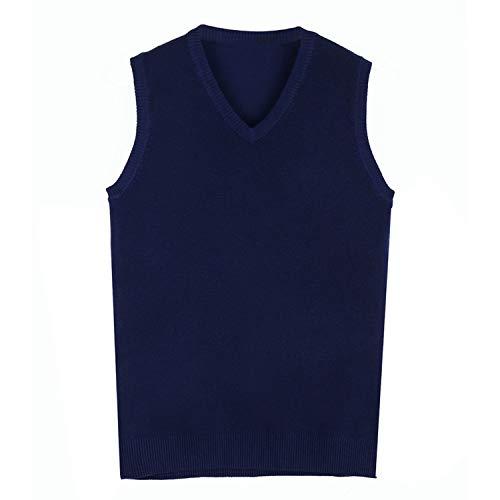 Men Knitting Sweater Vest Cashmere Sweaters Sleeveless Pullover Men V Neck Slim,Navy Blue,XXXL