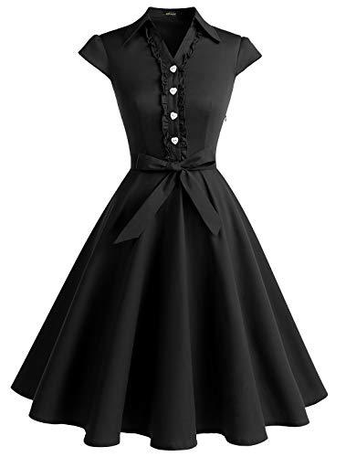 Wedtrend Damen 50er Retro Herzform Knopf Rockabilly Kleid Kurzer Ärmel A-Linie Kleider WTP10007 Black 3XL