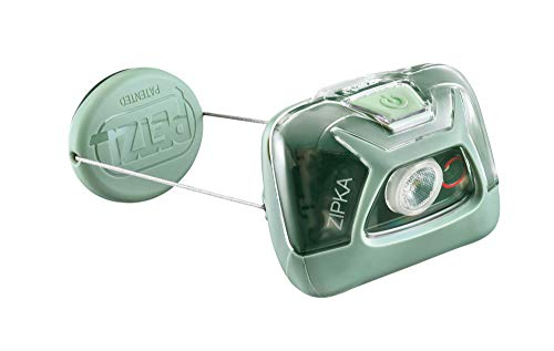 PETZL, ZIPKA Compact Headlamp with 300 Lumens and Retractable Cord for Hiking and Camping, Green