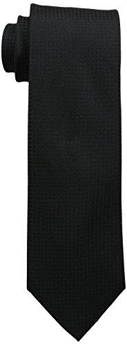 Calvin Klein Men's Black Tie, Black Gingham, One Size