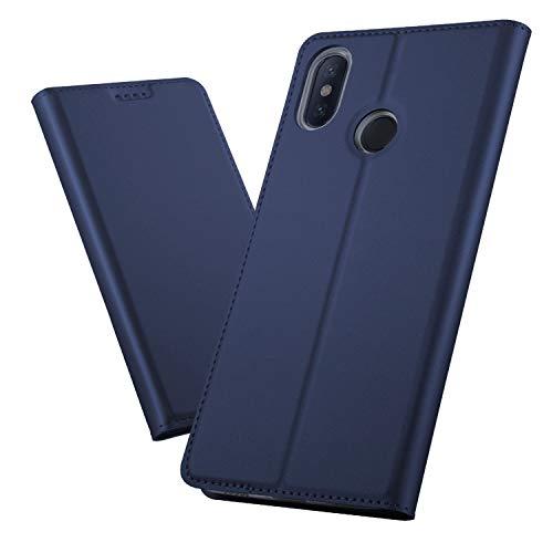 FanTings Capa flip para Xiaomi Mi Max 3, com compartimentos para cartão, capa de couro de poliuretano premium, antiarranhões, fecho magnético, recurso de suporte, para Xiaomi Mi Max 3 – Azul escuro