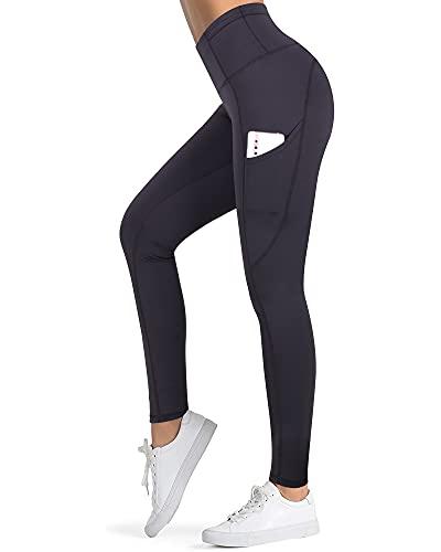 3W GRT Sport Leggings Damen,Sport Leggins,Blickdicht Yoga Sporthose,Streetwear,Fitnesshose mit Taschen,Yogahosen,High Waist Stretch Workout Fitness Jogginghose (Schwarz-W11, S)
