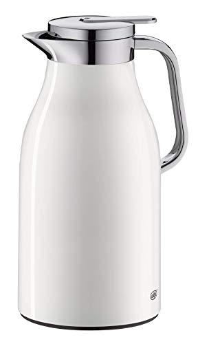 alfi Skyline, Thermoskanne Edelstahl weiß 1,5l mit doppelwandigem alfiDur Vakuum-Hartglaseinsatz. Isolierkanne hält 12 Stunden heiß, ideal als Kaffeekanne oder als Teekanne - 1321.211.150