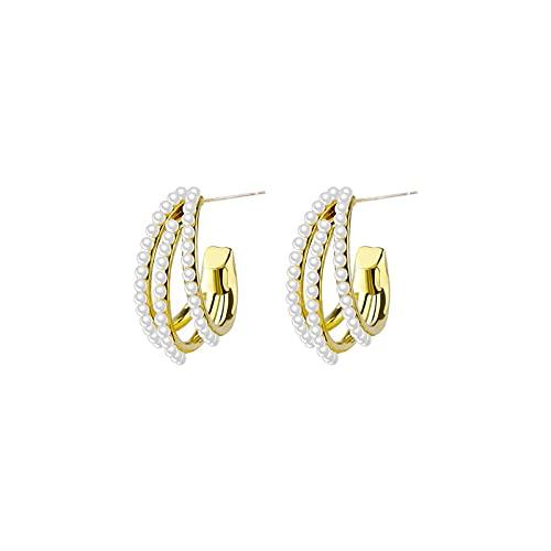 MALOYANVE Gold Earrings for Women Girl Geometric Three Hoop Pearl Earrings (Hoop)