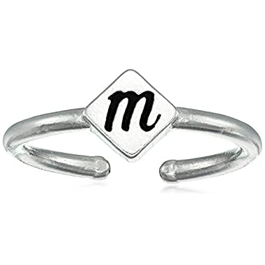 Alex and Ani Women's Initial M Adjustable Ring, Sterling Silver