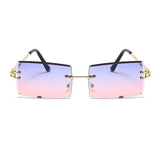 KKAAMYND Gafas de sol sin marco para mujer de moda con degradado multicolor cuadradas gafas de sol para hombres gafas cuadradas (lila-rosa), visión clara: gafas de sol pueden darte claridad