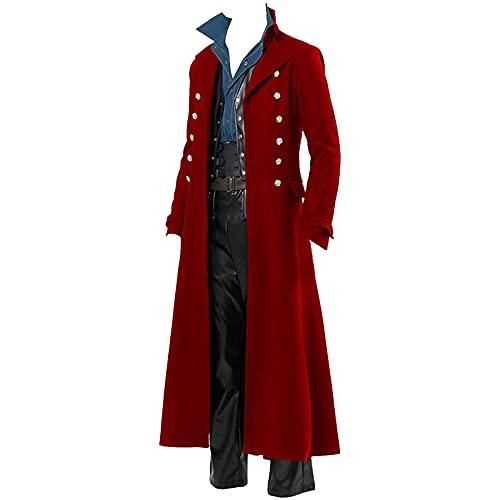 BGUK Chaqueta para hombre para Halloween, estilo steampunk, gtico, uniforme, cosplay, disfraz de esmoquin, retro, vestido largo victoriano, talla grande, rojo, XS
