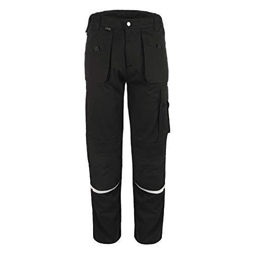 TMG® Comfort Herren Arbeitshose, Lange Cargo Bundhose mit Kniepolstertaschen Schwarz 48