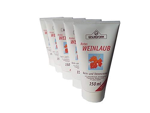 Hochwertige Bein- und Venencreme mit rotem Weinlaub, Roßkastanie, Ringelblume, Kamille und Arnika; für ein gutes Gefühl in den Beinen; Spar-Set 5x150ml in der Tube